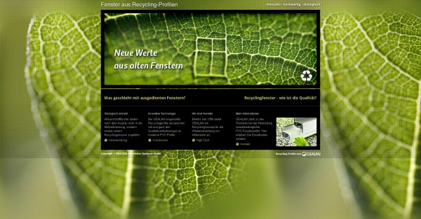Screenshot Einstiegsseite http://recycling-greenwindows.gealan.de